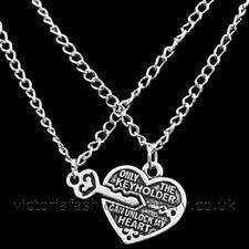 Corazón Keyholder Colgante Conjunto De Collar De Plata Antigua Tono, Valentine Love Par