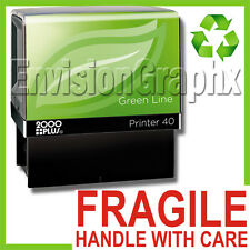 FRAGILE HANDLE WITH CARE Self Inking Rubber Stamp in Red Green Line P40