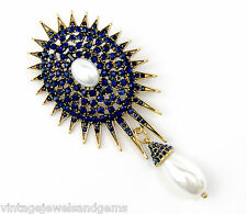 SAPPHIRE NAVY BLUE & WHITE PEARL BEAD CRYSTAL RHINESTONE Gold Sun Flower Brooch