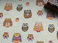 Upholstery Craft Heavy Cotton Canvas Fabric FANCY OWL HALF METRE #50