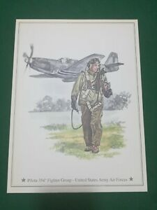Vintage -  PILOTA 354° Fighter Group US Army Air Force  , vecchia stampa  21x28