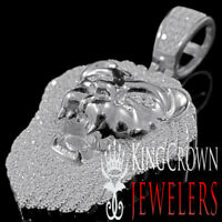 Mens 10K White Gold On Real Silver King Lion Head Pendant Simu Diamond Charm 2''