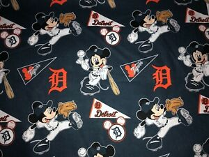 NEW DETROIT TIGERS COTTON Fabric 1/4 yard= 9inX 44 in MICKEY MOUSE DIY MASK !