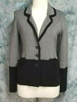 Sparrow Womens sz M Black Gray Pockets Button Collared Cardigan Sweater