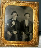 1/6th size Tintype of William and Joseph Werner in a brass frame