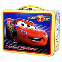 Tin Metal Lunch Snack Toy Box Embossed CARS McQueen Piston Cup NEW Yellow NEW