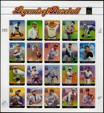 US LEGENDS OF BASEBALL #3408 CLEMENTE RUTH COBB ROBINSON 20 MVF 33c STAMP SHEET