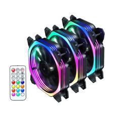 3X PC Gehäuse Lüfter 120mm RGB Mehrfarbig Doppelring LED Computer Gehäuselüfter