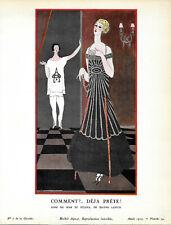 Georges LEPAPE POCHOIR ORIGINAL N°7/1924, pl 39 GAZETTE DU BON TON Jeanne LANVIN