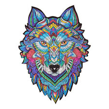 Amazing Wooden Jigsaw Puzzle Magic Wolf Unique Shape Ideal Gift Adults Kids