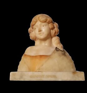 1930s Italian Giovane Sposa Carved Marble Alabaster Bust Sculpture