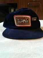 Vintage Blue Corduroy Snapback Hat Arapahoe Basin Ski the Summit (hb7)