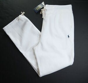 POLO RALPH LAUREN Men's White Cotton Blend Fleece Drawstring Pants NEW NWT
