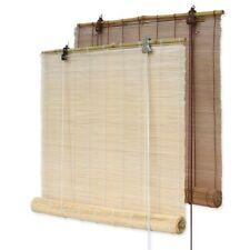 Bambusrollos / freihängendes Bambus Rollo Natur u. Braun für Fenster & Balkontür