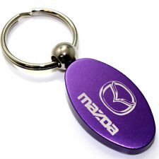 Purple Aluminum Metal Oval Mazda Logo Key Chain Fob Chrome Ring