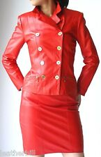 FIERY RED LEATHER DRESS  SUIT - BEGEDOR  JACKET and VAKKO SKIRT