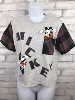 Vintage Disney Mickey Minnie Mouse Crop Top T Shirt. Gray Red Plaid Sleeve S/M
