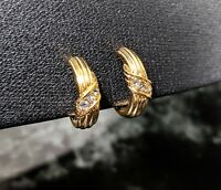 Lovely Small Vintage Gold tone Rhinestones Hoops Clip-on Earrings by Avon