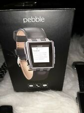 PEBBLE STEEL SMARTWATCH BRUSHED STAINLESS OR LEATHER BAND NEW opened box to show
