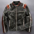 Men's Vintage Motorcycle Cafe Racer Biker Retro Moto Distressed Leather Jacket