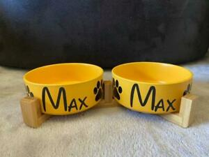 Double Modern Pet Bowl   Pet Bowl With Name   Ceramic+Bamboo   Personalized Dog