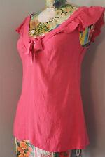 Anthropology Sanctuary Clothing 100% Silk Pink Ruffle Top Shirt Blouse Size M