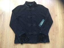 Black Fur Cuff & Collar Cardigan/Jacket by LAUREN for RALPH LAUREN (L) BNWT $229