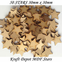 50x En bois étoile formes Taillé En Laser MDF Vide Embellissements Art Artisanat