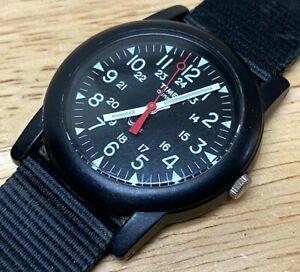 Timex Military Dial Ultra Light Black Nylon Analog Quartz Watch Hour~New Battery