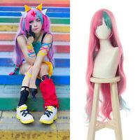YouTuber Pinky Pop Hepburn Cosplay Wig Pink Mixed Green Long Curly Hair