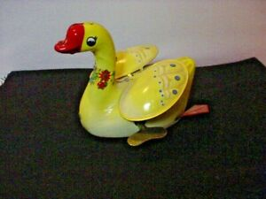 VINTAGE  TIN LITHO GOOSE DUCK  Swan Goose DucK wind up toy BY SCHYLLING