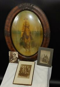 Antique WW1 Bubble Frame Picture of Soldier Cecil B. Wheeler of NH, c. 1917