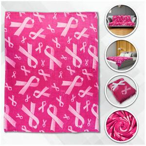 Pink Ribbon Super Plush Blanket 50x60 Breast Cancer Throw Blanket Survivor Pink