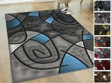 Rug 8x10 Area Rug Blue Grey Black Abstract Modern 5x7 Rugs Carpet Flooring Decor