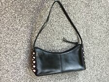 SUZY SMITH Black pink genuine Leather Shoulder Bag