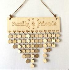 Wood Birthday Reminder Wall Hanging Birth Plaque Board Sign DIY Family Calendar