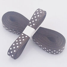 "5yds 3/8""(10 mm) Brown Christmas Ribbon Printed lovely dots Grosgrain Ribbon!"