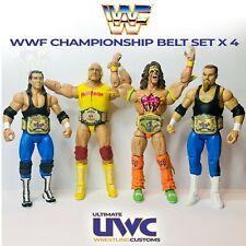WWF WWE Elite Size Custom Wrestling Belt Set x 4 Hasbro / Mattel / Jakks Figures