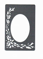 Stencil/Metal/Stainless/Steel/Emboss/Christmas/Holly/Oval/Frame/Oblong/NEW