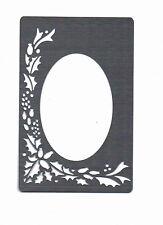 Stencil/Metallo in Acciaio Inox///sbalza/Natale/Holly/Ovale/telaio/Oblungo/NUOVO