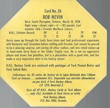 1961-62 YORK PEANUT BUTTER #26 BOB NEVIN TORONTO MAPLE LEAFS OCTAGON SHAPE