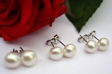 6mm 7mm 8 mm echte Süßwasser Perlen Schmuck Set Ohrringe Ohrstecker 925 Silber