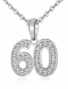 60 Pendant & Necklace - Sterling Silver 925 - 60th Birthday Celebration Gift