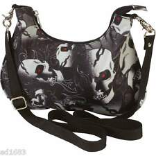 "12""x 8""x 6-1/2"" Ladies' Purse w/ Skulls - Rock Gothic Punk"