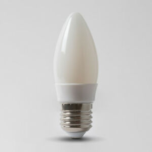 E27 4100K Opal Dimmable LED Candle Bulb with white plastic