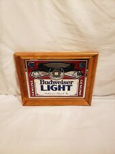 "Vintage Framed Genuine Budweiser Light Mirror, Wood Frame, 14"" x 11"""