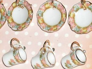 1pc Tiny mix little flower Tea Cups mugs plate mini charms Miniature Dollhouse *