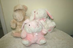 3 SWEET SOFT TOY EASTER BUNNY/RABBITS STUFFED ANIMALS PINK/CREAM/WHITE CUDDLY