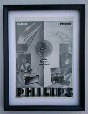 Art Deco anuncio Phillips Radio 1931 Original Enmarcado Excelente Estado