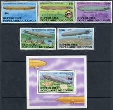 Congo: 1977 History of the Zeppelin Set and Souvenir Sheet (408-412, C236) MNH